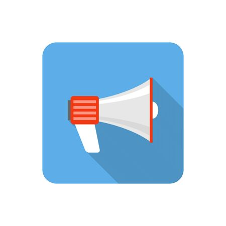 mass: Flat loudspeaker icon with long shadow. Vector illustration