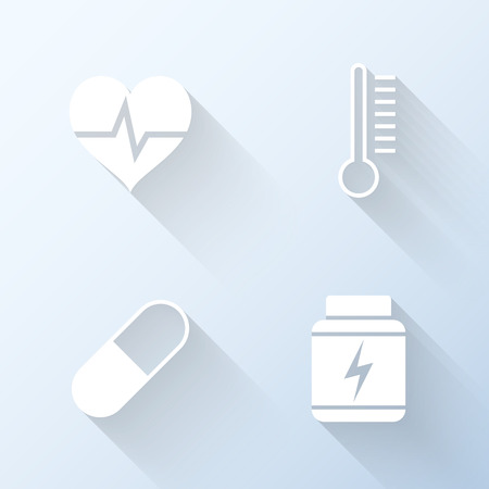 gainer: Flat healthcare icons with long shadows. Vector illustration Illustration