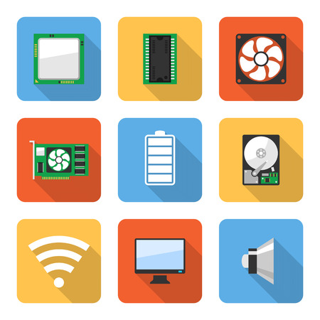 hard drive: Flat computer system icons with long shadows. Vector illustration