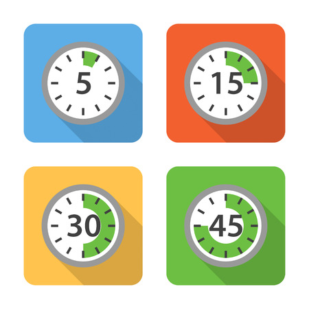 interval: Flat time interval icons with long shadows. Vector illustration