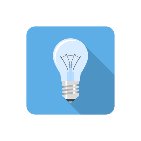 achievement clip art: Flat light bulb icon with long shadow. Vector illustration Illustration
