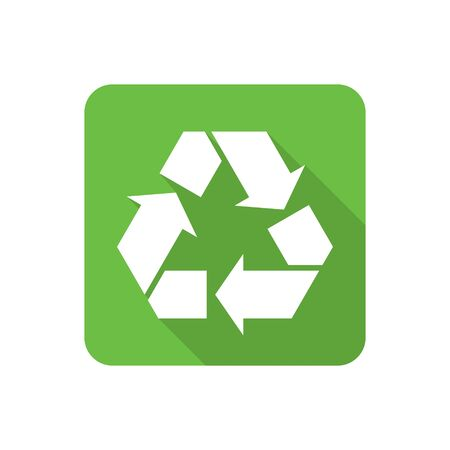 biological waste: Flat recycling symbol icon with long shadow. Vector illustration Illustration