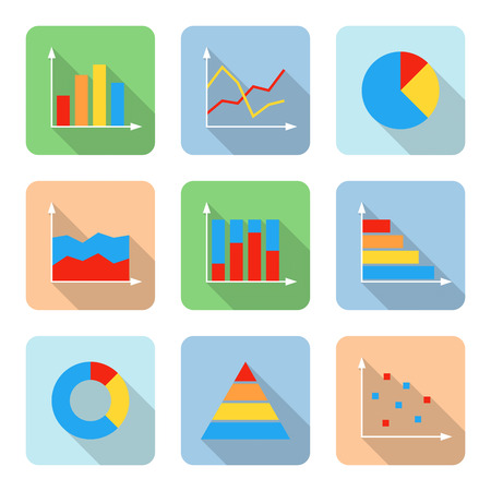 bar chart: Flat graph icons with long shadows. Vector illustration Illustration