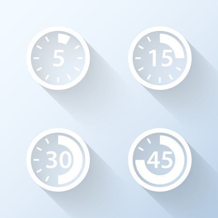 stop time: Flat time interval icons with long shadows. Vector illustration