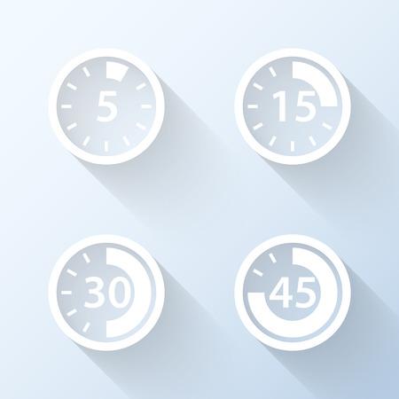 Platte tijdsinterval pictogrammen met lange schaduwen. Vector illustratie