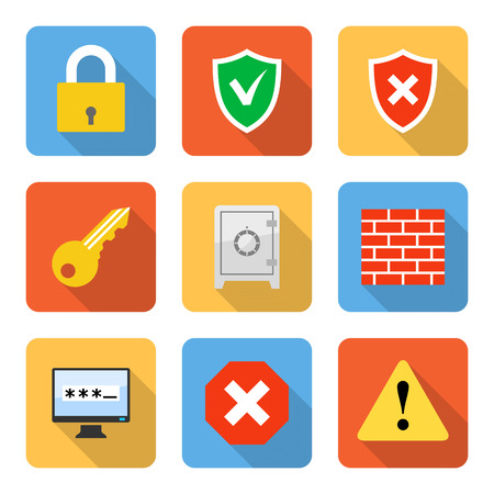 secure data: Flat security icons with long shadows. Vector illustration