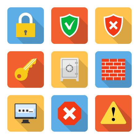 contrase�a: Iconos de seguridad planas con largas sombras. Ilustraci�n vectorial