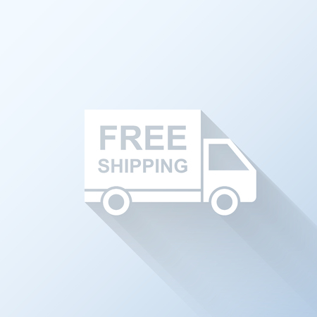 merchandize: Flat free shipping truck icon with long shadow. Vector illustration