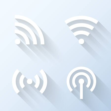 wireless connection: Flat wireless connection icons with long shadows. Vector illustration