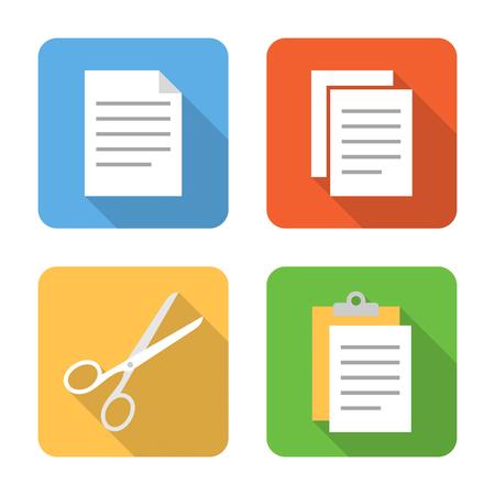 Platte kopiëren, knippen en plakken iconen met lange schaduwen. Vector illustratie Vector Illustratie