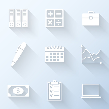 case binder: Flat business icons with long shadows. Vector illustration