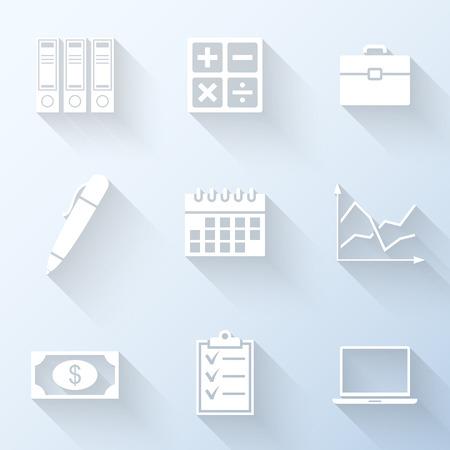 Platte zakelijke iconen met lange schaduwen. Vector illustratie Stock Illustratie