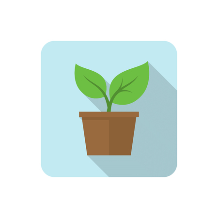 application recycle: Flat plant icon with long shadow. Vector illustration