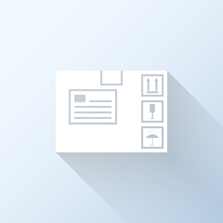 merchandize: Flat shipping box icon with long shadow. Vector illustration