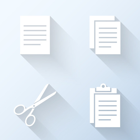 cut and paste: Flat copy, cut and paste icons with long shadows. Vector illustration Illustration