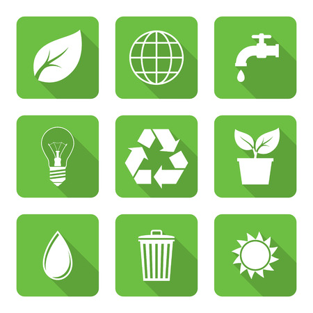 environment: Flat environment icons with long shadows. Vector illustration