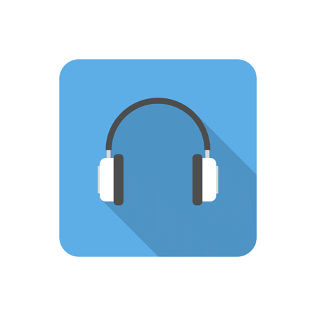 portable player: Flat headphones icon with long shadow. Vector illustration