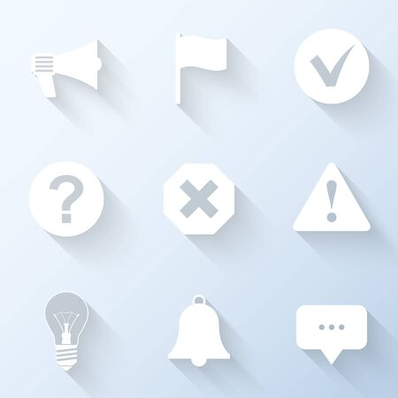notification: Flat notification icons with long shadows. Vector illustration Illustration