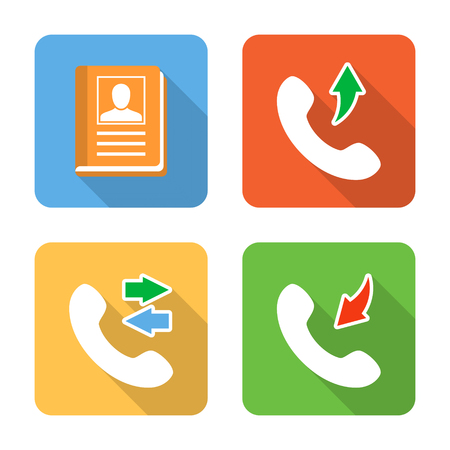 call log: Flat contacts icons with long shadows. Vector illustration Illustration