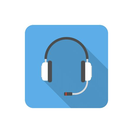 earpieces: Flat headset icon with long shadow. Vector illustration Illustration