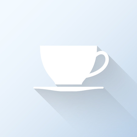 lunchroom: Flat coffee cup icon with long shadow. Vector illustration Illustration
