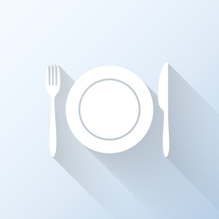 canteen: Flat dining icon with long shadow. Vector illustration