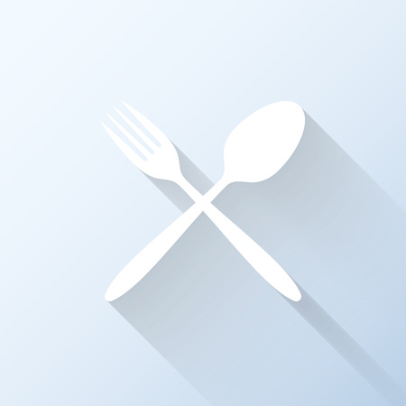 lunchroom: Flat dining icon with long shadow. Vector illustration