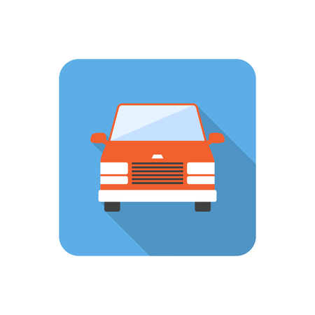 minibus: Flat minibus icon with long shadow. Vector illustration Illustration