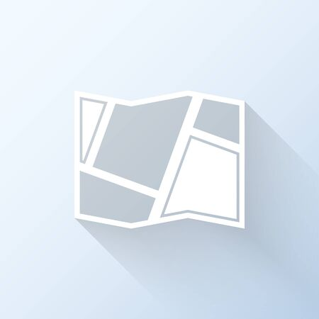 geolocation: Flat map icon with long shadow. Vector illustration