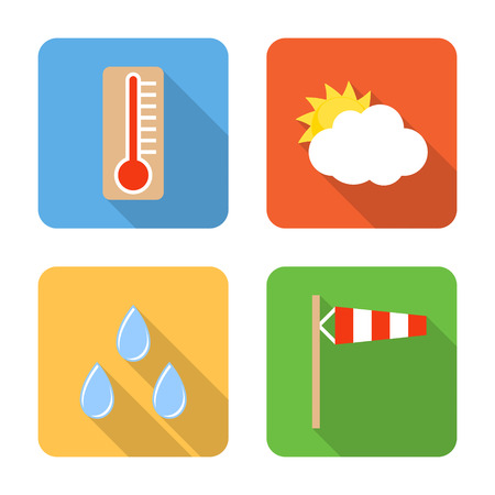 windsock: Flat weather icons with long shadows. Vector illustration