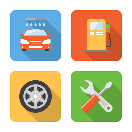 Flat car service icons with long shadows. Vector illustration Vector
