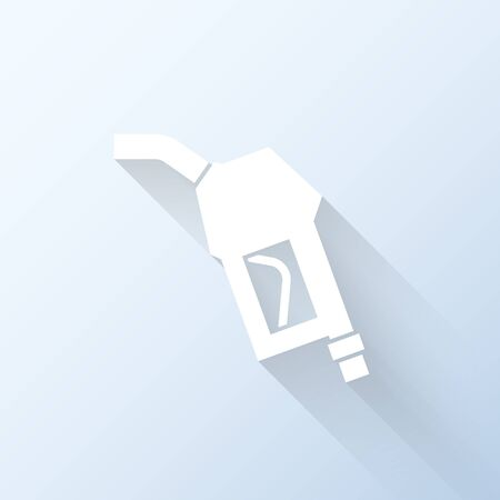 octane: Flat fuel pump nozzle icon with long shadow. Vector illustration