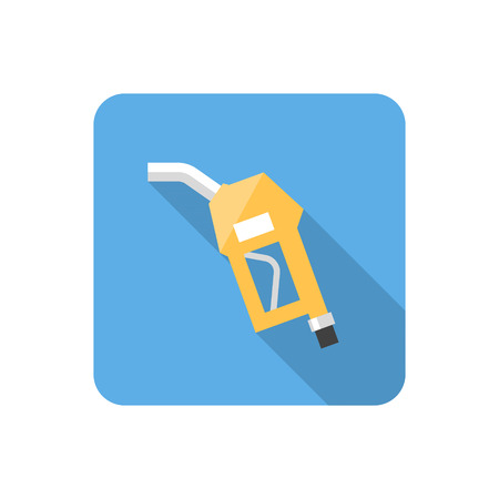 application recycle: Flat fuel pump nozzle icon with long shadow. Vector illustration