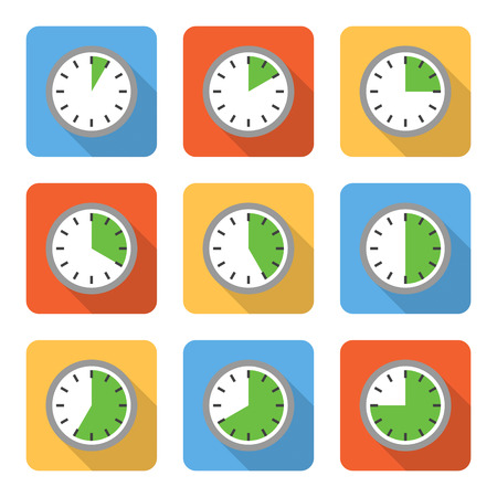 time work: Flat time interval icons with long shadows. Vector illustration