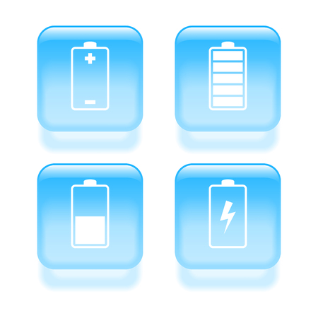 charge: Glassy battery icons. Vector illustration Illustration
