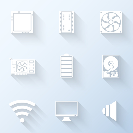 clipart speaker: Flat computer system icons with long shadows. Vector illustration