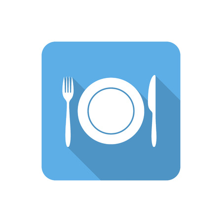 dining set: Flat dining icon with long shadow. Vector illustration