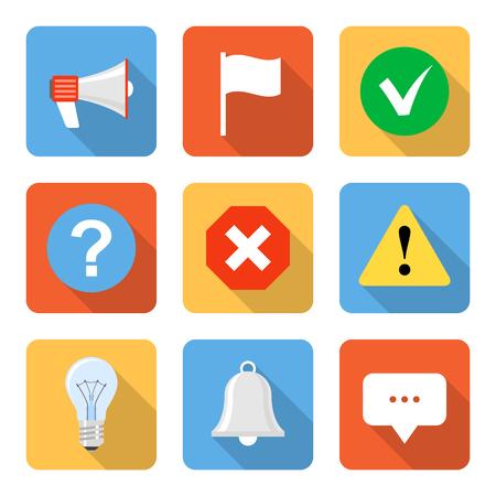 알림: Flat notification icons with long shadows. Vector illustration 일러스트