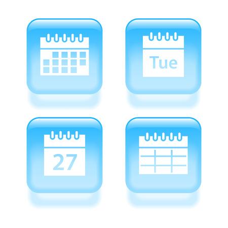 scheduler: Glassy calendar icons. Vector illustration