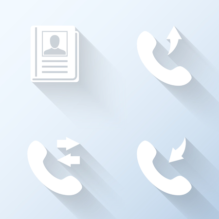 miss call: Flat contacts icons with long shadows. Vector illustration Illustration