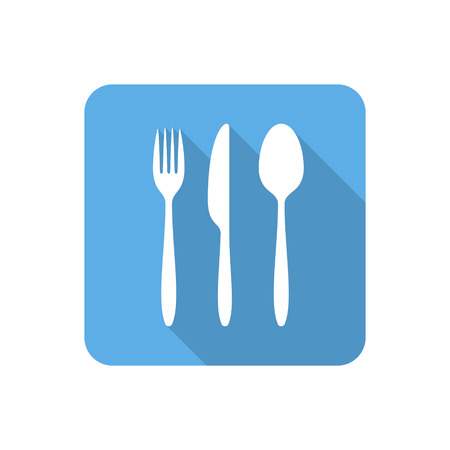 canteen: Flat cutlery set icon with long shadow. Vector illustration