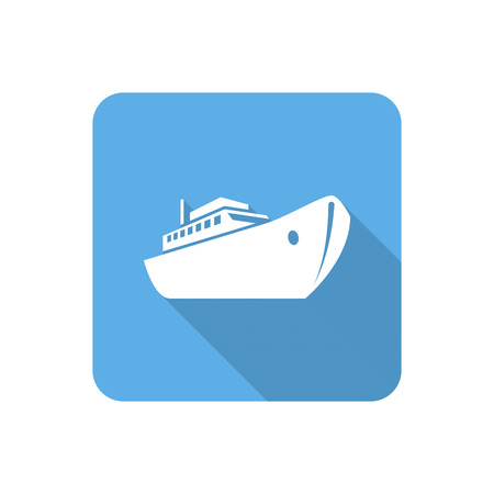 vessel: Flat ship icon with long shadow. Vector illustration
