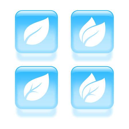 glassy: Glassy leaves icons. Vector illustration Illustration