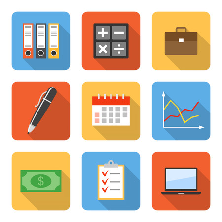 computer case: Flat business icons with long shadows. Vector illustration
