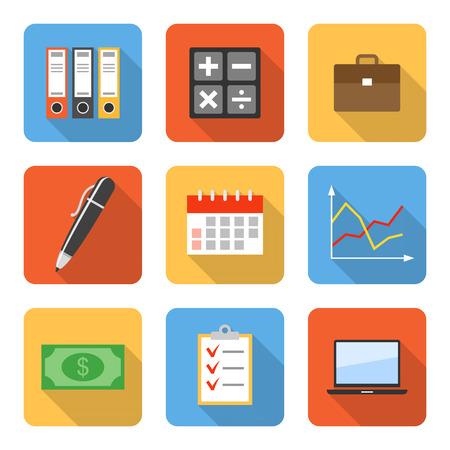 estuche: Iconos de negocios planas con largas sombras. Ilustración vectorial