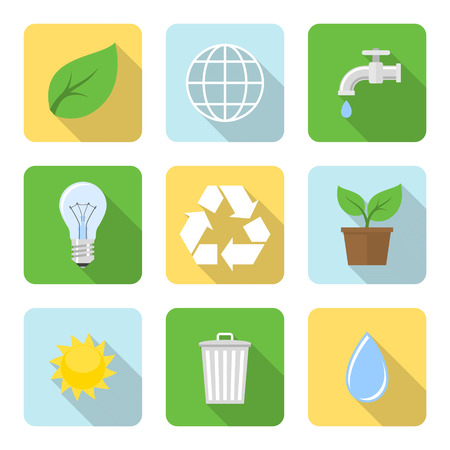 application recycle: Flat environment icons with long shadows. Vector illustration
