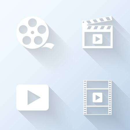 video icons: Flat video icons with long shadows. Vector illustration Illustration