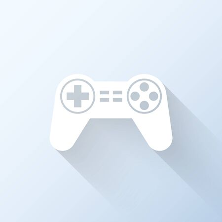 Flat gamepad icon with long shadow. Vector illustration Vector