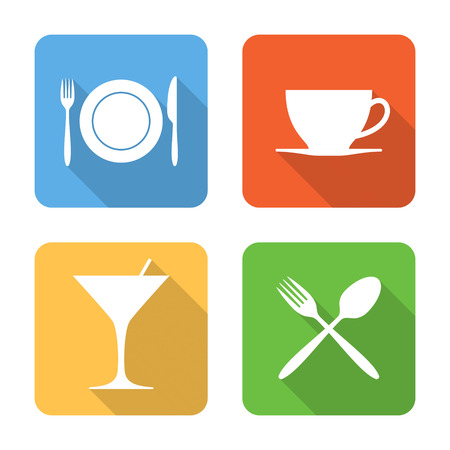 dining set: Flat dining icons with long shadows. Vector illustration
