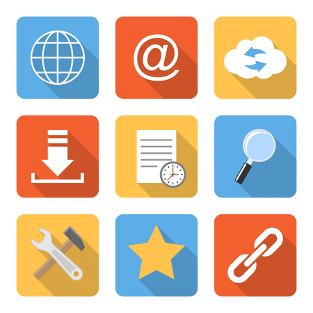 preference: Flat internet icons with long shadows. Vector illustration